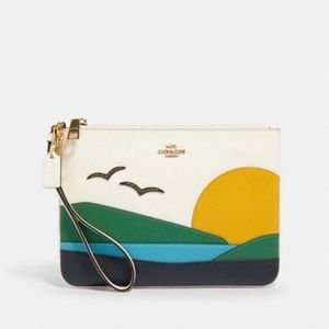 Coach Gallery Pouch With Sunset Motif New!